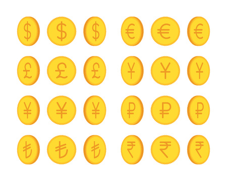 golden coins: Set of golden coins, international currency. Cartoon vector flat-style illustration