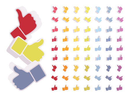Set of colored likes, thumbs up signs. Cartoon vector flat-style illustration