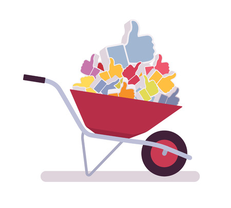 Wheelbarrow full of likes. Cartoon vector flat-style illustration