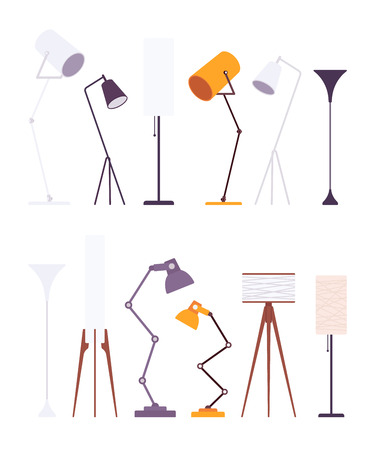 Set of floor lamps, isolated against white background. Cartoon vector flat-style illustration