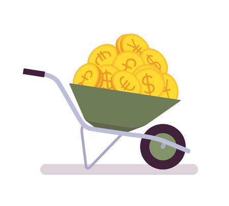 Wheelbarrow full of coins. Cartoon vector flat-style illustration Illustration