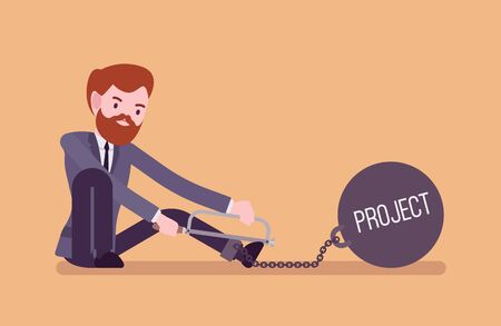 escape plan: Businessman chained with a giant metall weight with a title Project trying to escape, sawing. Cartoon vector flat-style concept illustration