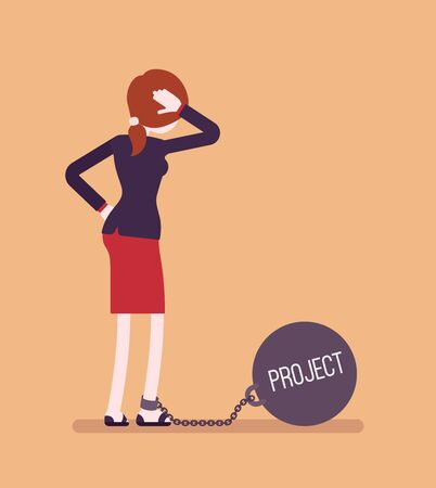 over weight: Businesswoman chained with a giant metall weight, written Project on a ball, thinking the problem over, scratching her head. Rear view. Cartoon vector flat-style concept illustration Stock Photo