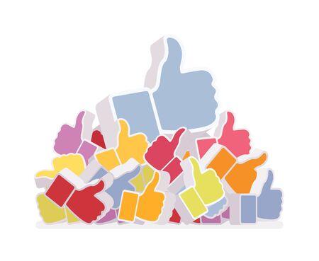 likes: Pile of likes, diffrent colors. Cartoon vector flat-style illustration Illustration