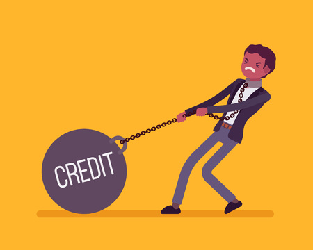 Businessman dragging a giant heavy weight on chain, written Credit on a ball. Cartoon vector flat-style concept illustration Illustration