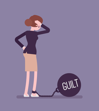 over weight: Businesswoman chained with a giant metall weight, written Guilt on a ball, thinking the problem over, scratching her head. Rear view. Cartoon vector flat-style concept illustration