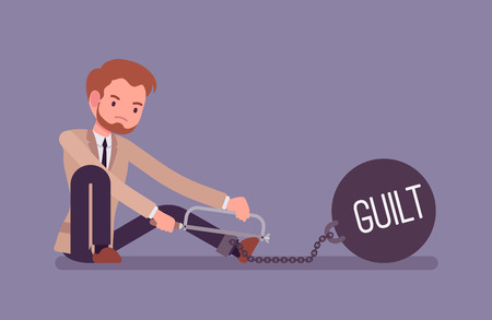 guilt: Businessman chained with a giant metall weight with a title Guilt trying to escape, sawing. Cartoon vector flat-style concept illustration Illustration