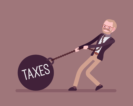 Businessman dragging a giant heavy weight on chain, written Taxes on a ball. Cartoon vector flat-style concept illustration Stock Photo