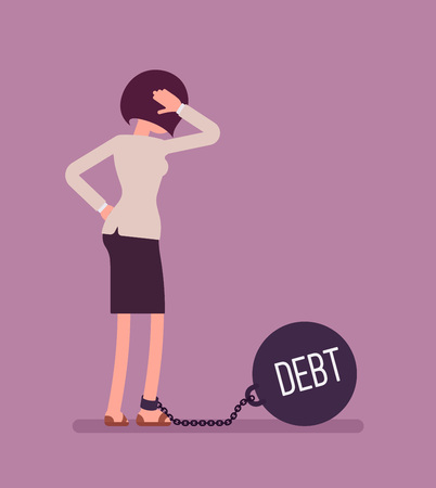 Businesswoman chained with a giant metall weight, written Debt on a ball, thinking the problem over, scratching her head. Rear view. Cartoon vector flat-style concept illustration Vectores