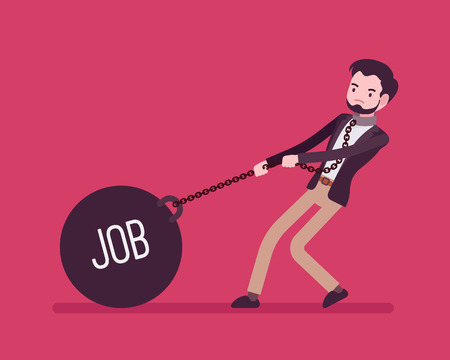too much: Businessman dragging a giant heavy weight on chain, written Job on a ball. Cartoon vector flat-style concept illustration Illustration