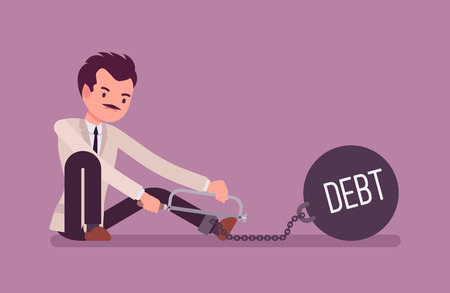 Businessman chained with a giant metall weight with a title Debt trying to escape, sawing. Cartoon vector flat-style concept illustration