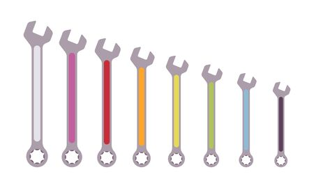 coded: Set of color coded wrenches open at one end, ring at the other. Cartoon vector flat-style illustration