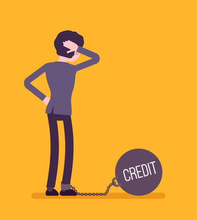 Businesswoman chained with a giant metall weight, written Credit on a ball, thinking the problem over, scratching his head. Rear view. Cartoon vector flat-style concept illustration Illustration
