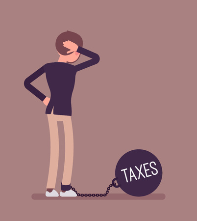 Businesswoman chained with a giant metall weight, written Taxes on a ball, thinking the problem over, scratching his head. Rear view. Cartoon vector flat-style concept illustration Illustration