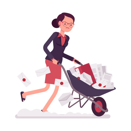 Businesswoman pushing quickly a wheelbarrow full of paper. Cartoon vector flat-style concept illustration Illustration