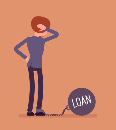 Businesswoman chained with a giant metall weight, written Loan on a ball, thinking the problem over, scratching his head. Rear view. Cartoon vector flat-style concept illustration Illustration