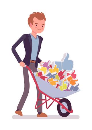 likes: Businessman pushing a wheelbarrow full of likes. Cartoon vector flat-style concept illustration