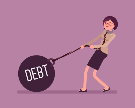 Businesswoman dragging a giant heavy weight on chain, written Debt on a ball. Cartoon vector flat-style concept illustration Vectores