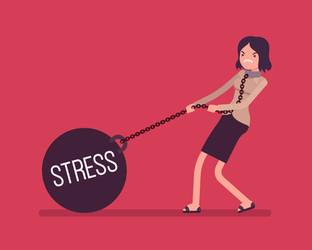 Businesswoman dragging a giant heavy weight on chain, written Stress on a ball. Cartoon vector flat-style concept illustration Иллюстрация