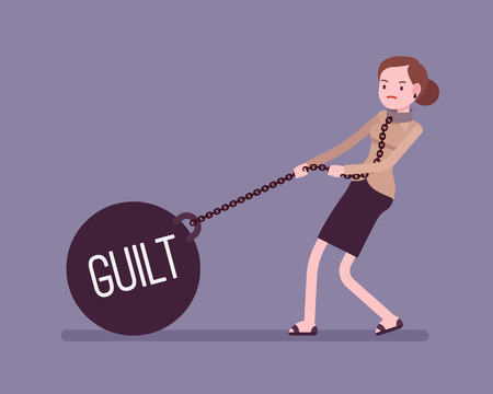 guilt: Businesswoman dragging a giant heavy weight on chain, written Guilt on a ball. Cartoon vector flat-style concept illustration