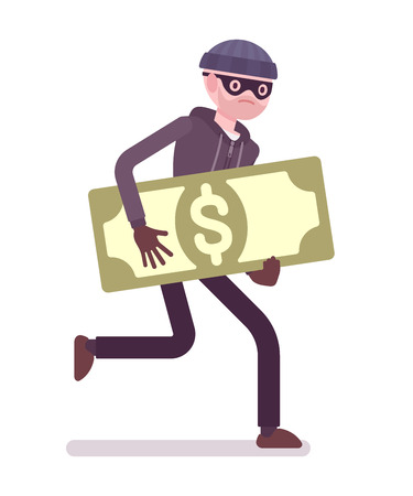 robo: Ladrón en una máscara de negro robó dinero y huye. vector de dibujos animados al estilo de ilustración del concepto plana Vectores