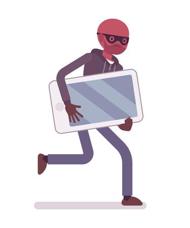 Ladrón en una máscara de negro robó smartphone y está huyendo. vector de dibujos animados al estilo de ilustración del concepto plana