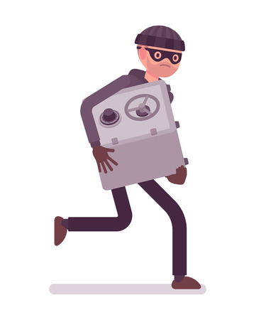 stole: Thief in a black mask stole safe and is running away. Cartoon vector flat-style concept illustration