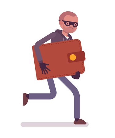 stole: Thief in a black mask stole wallet and is running away. Cartoon vector flat-style concept illustration