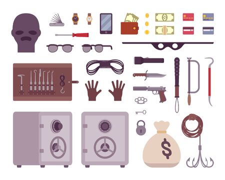 Set of thief tools isilated on a white background. Cartoon vector flat-style illustration Illustration
