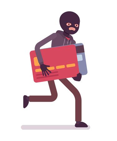 robo: Ladrón en una máscara de negro robó la tarjeta de crédito y está huyendo. vector de dibujos animados al estilo de ilustración del concepto plana Vectores