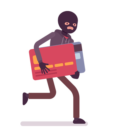 stealing data: Thief in a black mask stole credit card and is running away. Cartoon vector flat-style concept illustration Illustration