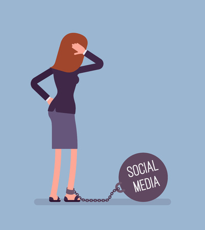 Businesswoman chained with a giant metall weight, written Social Media on a ball, thinking the problem over, scratching her head. Rear view. Cartoon vector flat-style concept illustration