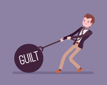 guilt: Businessman dragging a giant heavy weight on chain, written Guilt on a ball. Cartoon vector flat-style concept illustration