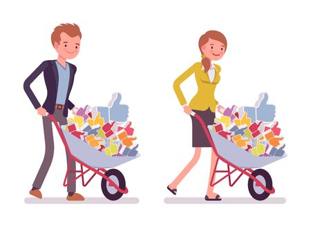 likes: Set of smiling young businessman and businesswoman pushing a wheelbarrow full of likes. Cartoon vector flat-style concept illustration