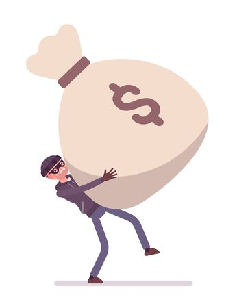 money sack: Thief holding with effort a giant heavy money sack. Cartoon vector flat-style concept illustration