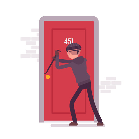 crowbar: Thief making an effort to open the door with a crowbar. Cartoon vector flat-style concept illustration
