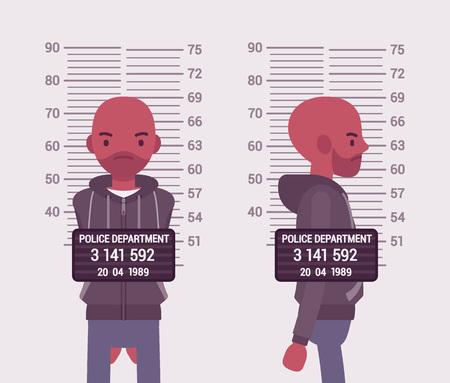 taken: Mugshot of a young black man taken after arrest. Cartoon vector flat-style concept illustration