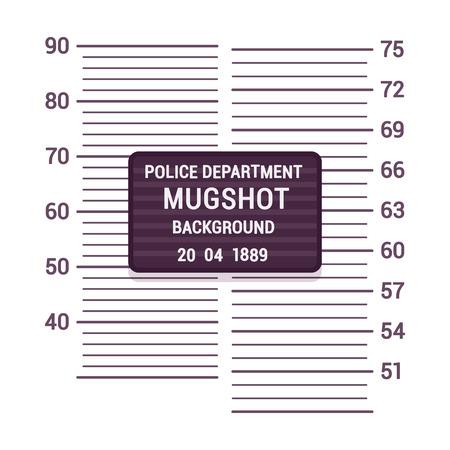 mugshot: Mugshot background template. Cartoon vector flat-style illustration Illustration