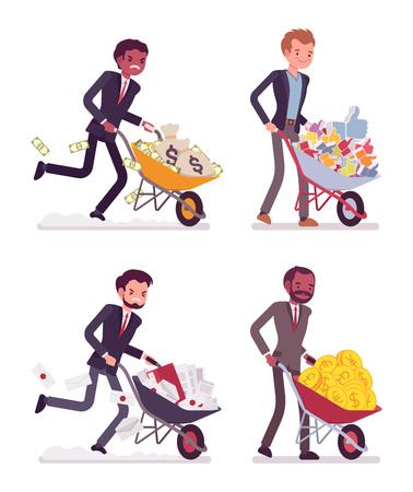 likes: Set of young businessmen pushing wheelbarrows full of golden coins, money sacks, likes, documentations. Cartoon vector flat-style concept illustration Illustration
