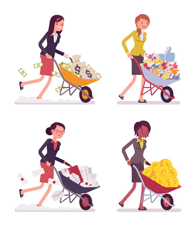 Set of young businesswomen pushing wheelbarrows with coins, moneybags, likes, documentations. Cartoon vector flat-style concept illustration