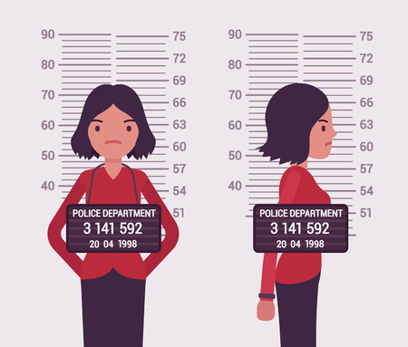 Mugshot de una joven blanca tomada después de la detención. vector de dibujos animados al estilo de ilustración del concepto plana Ilustración de vector