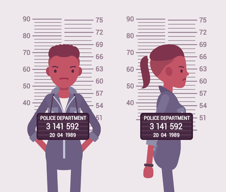 Mugshot of a young black woman taken after arrest. Cartoon vector flat-style concept illustration
