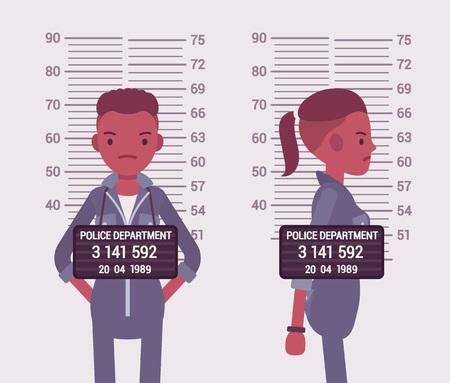 Mugshot van een jonge zwarte vrouw genomen na de arrestatie. Cartoon vector flat-stijl concept illustratie