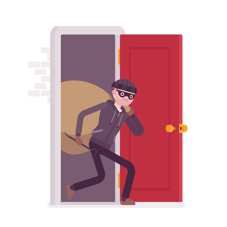 Thief carring loot through the front door. Cartoon vector flat-style concept illustration Illustration