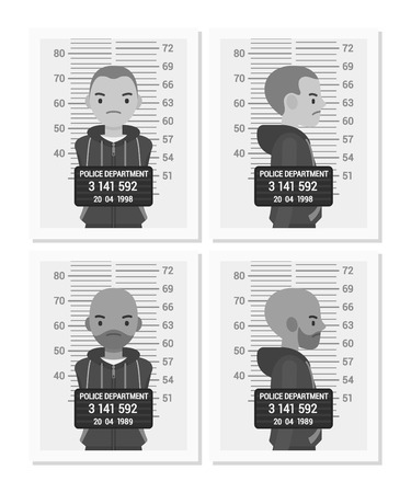 handcuffed: Set of balck and white male mugshots taken after arrest. Cartoon vector flat-style concept illustration Illustration