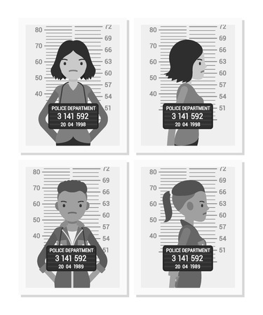 handcuffed: Set of balck and white female mugshots taken after arrest. Cartoon vector flat-style concept illustration