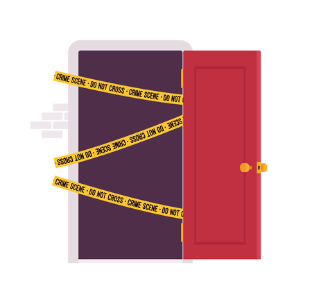 not open: Front open door with yellow police line Do Not Cross tape. Cartoon vector flat-style concept illustration Illustration