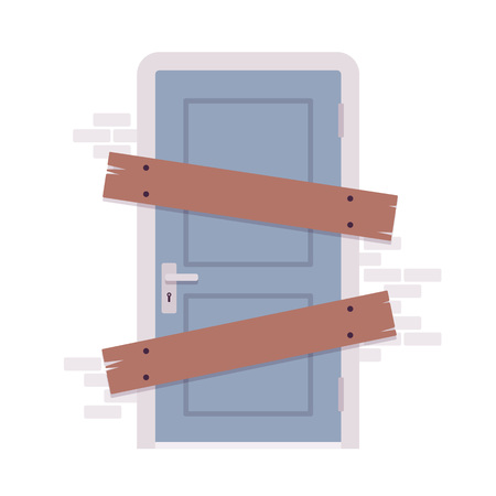 boarded: Boarded up door, installing boards on the door to prevent unauthorized access, or abandoned. Cartoon vector flat-style concept illustration