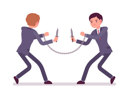 battle plan: Chained with each other businessmen khife fighting. Cartoon vector flat-style concept illustration
