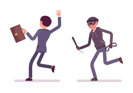pursuing: Masked and armed bandit pursuing a businessman, his victim. Cartoon vector flat-style concept illustration